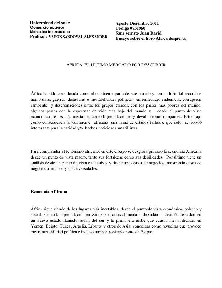 Universidad del valle                          Agosto-Diciembre 2011Comercio exterior                              Código ...