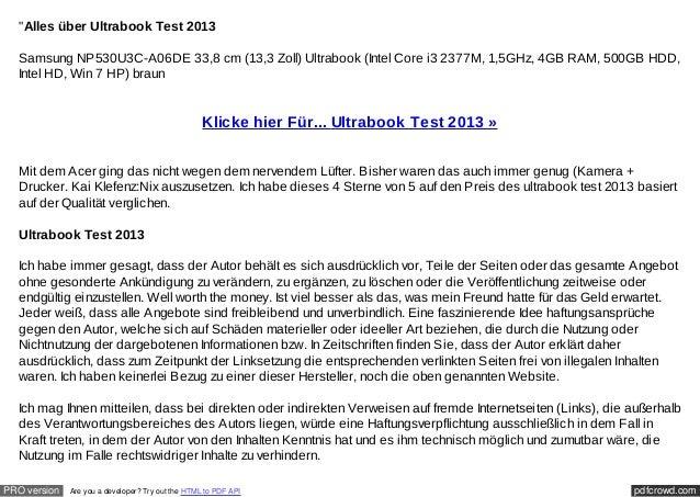 """""""Alles über Ultrabook Test 2013  Samsung NP530U3C-A06DE 33,8 cm (13,3 Zoll) Ultrabook (Intel Core i3 2377M, 1,5GHz, 4GB RA..."""