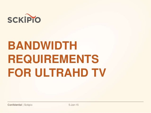 5-Jan-15Confidential | Sckipio BANDWIDTH REQUIREMENTS FOR ULTRAHD TV