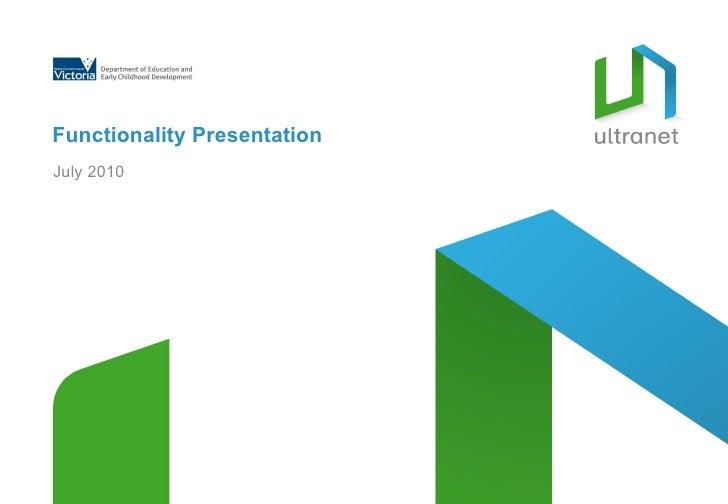 Functionality Presentation July 2010