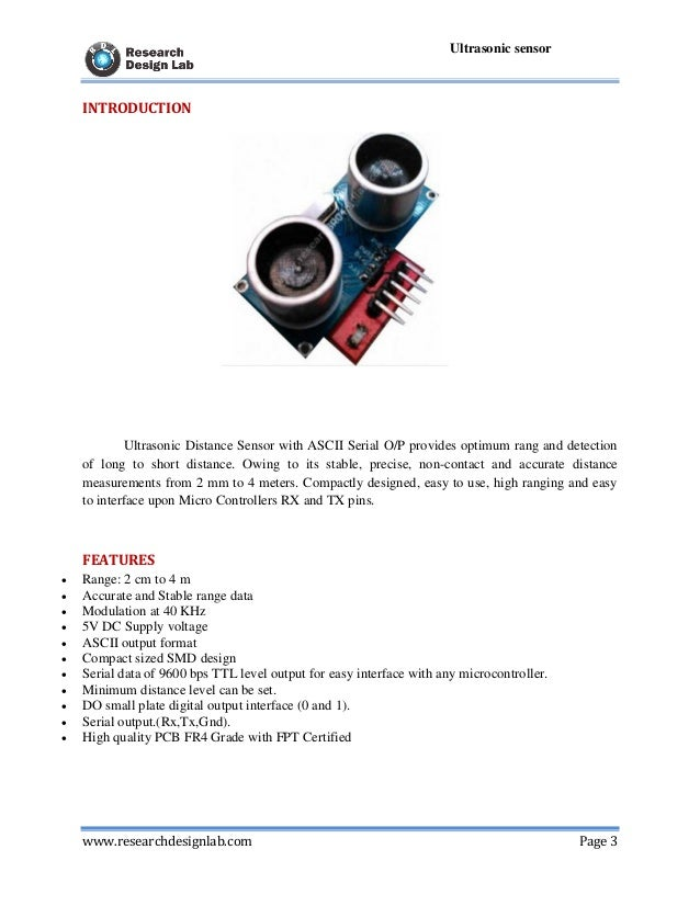 serial ultrasonic distance measure sensor5; 3 www researchdesignlab com page 3 ultrasonic sensor introduction ultrasonic distance sensor with ascii