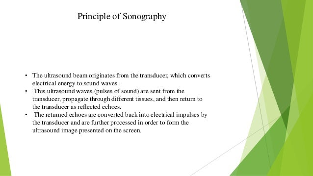Principle of Sonography • The ultrasound beam originates from the transducer, which converts electrical energy to sound wa...