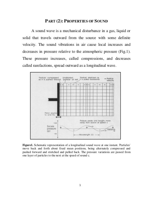 PART (2): PROPERTIES OF SOUND A sound wave is a mechanical disturbance in a gas, liquid or solid that travels outward from...