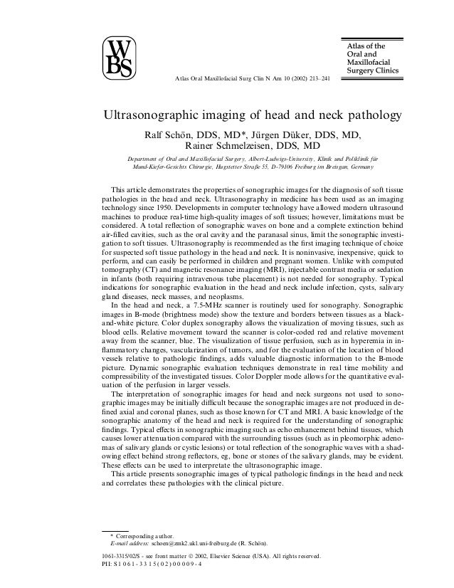 Atlas Oral Maxillofacial Surg Clin N Am 10 (2002) 213–241Ultrasonographic imaging of head and neck pathology              ...