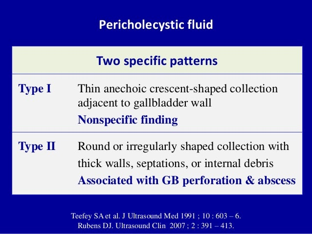 Pericholecystic fluid Two specific patterns Type I Thin anechoic crescent-shaped collection adjacent to gallbladder wall N...