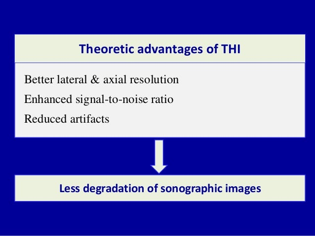 Better lateral & axial resolution Enhanced signal-to-noise ratio Reduced artifacts Theoretic advantages of THI Less degrad...