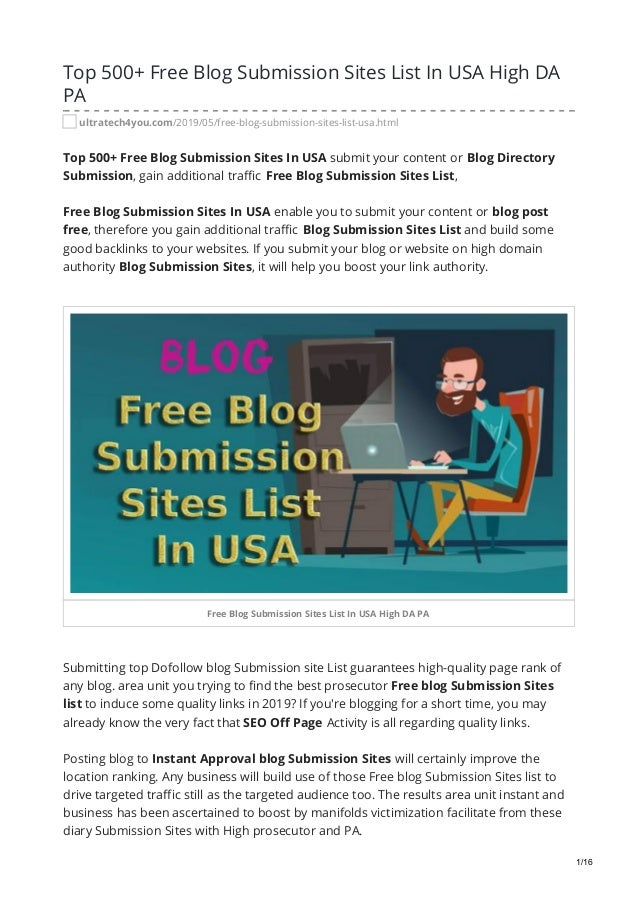 Top 500 Free Blog Submission Sites List In USA High DA PA