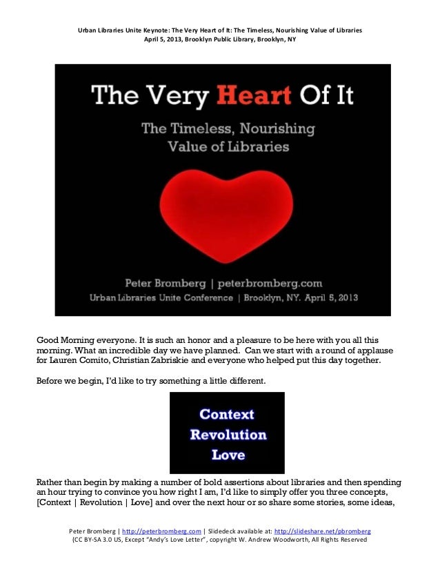 Urban Libraries Unite Keynote: The Very Heart of It: The Timeless, Nourishing Value of Libraries                          ...