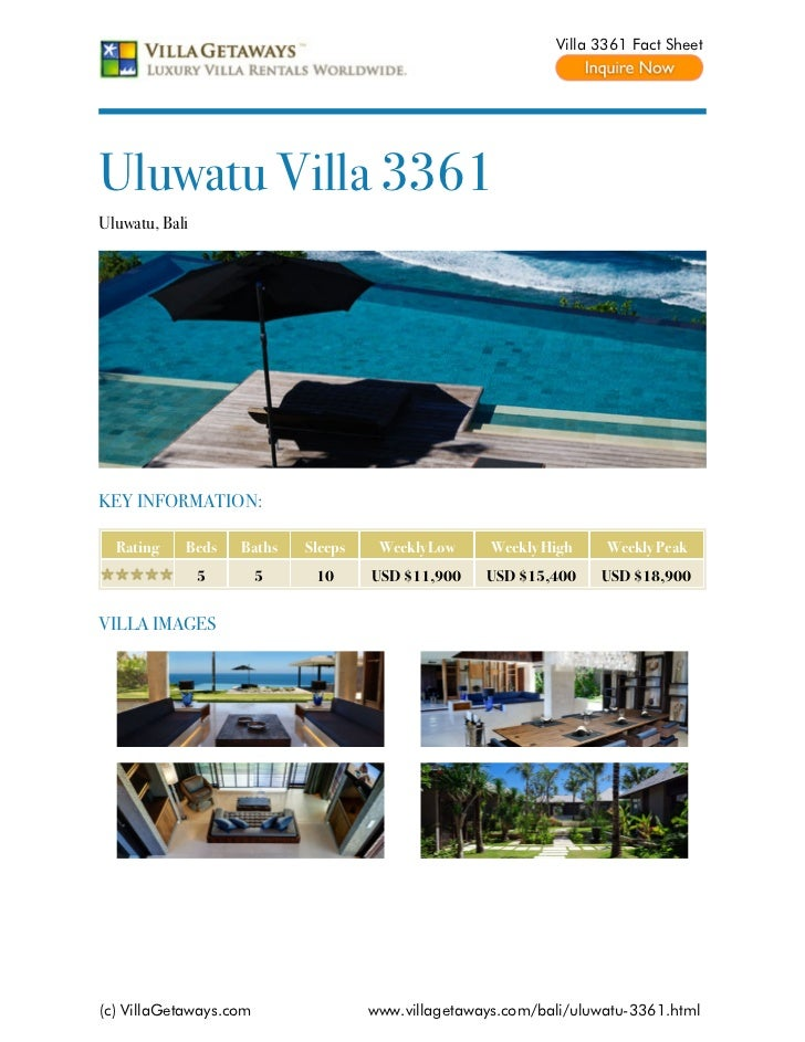 Villa 3361 Fact SheetUluwatu Villa 3361Uluwatu, BaliKEY INFORMATION:  Rating    Beds    Baths   Sleeps    Weekly Low     W...