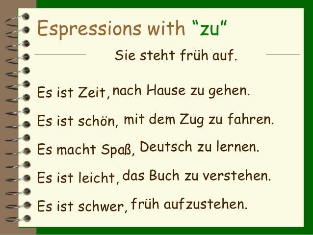 """Espressions with """"zu"""" Sie fährt mit das Buch. Sie geht nach Hause. Sie steht Deutsch. versteht dem Zug. Sie lernt früh auf..."""