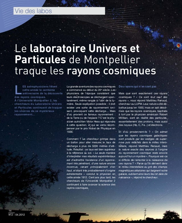 Vie des labos    Le laboratoire Univers et    Particules de Montpellier    traque les rayons cosmiques    L          es as...