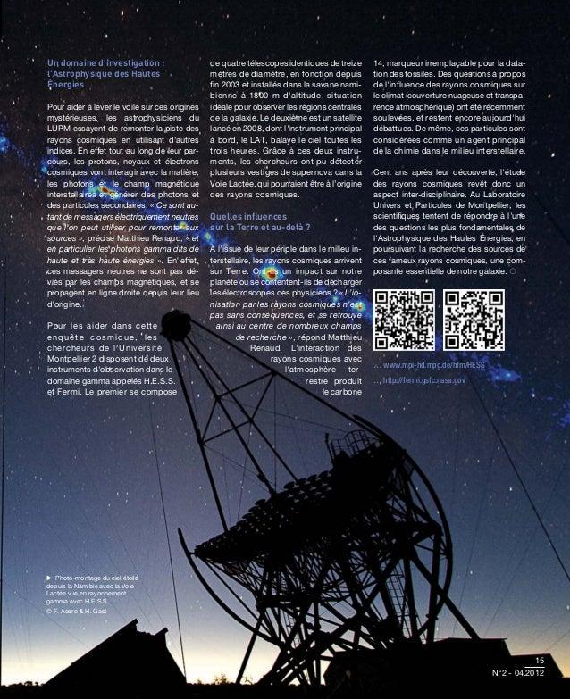 Un domaine dinvestigation :                   de quatre télescopes identiques de treize       14, marqueur irremplaçable p...