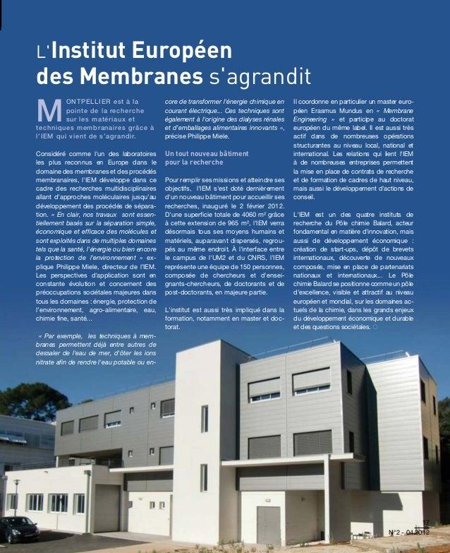LInstitut       Européendes Membranes sagranditM         ontpellier est à la                  core de transformer lénergie...