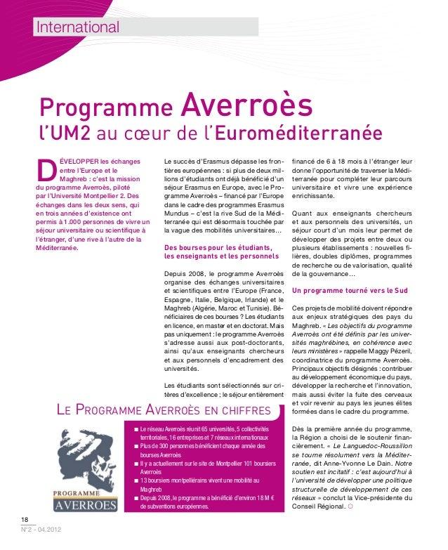 International     Programme Averroès     l'UM2 au cœur de l'Euroméditerranée    D             évelopper les échanges      ...