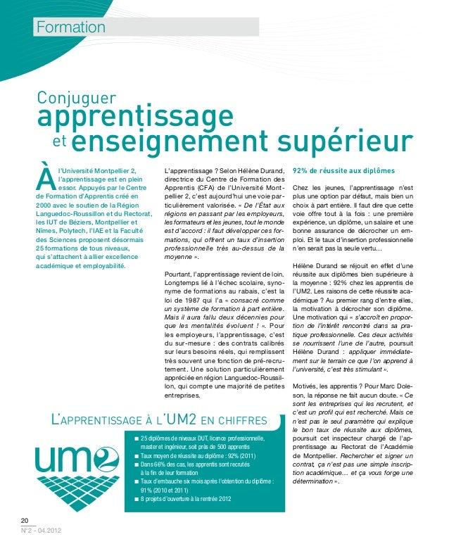 Formation     Conjuguer    apprentissage     et enseignement supérieur    à            l'Université Montpellier 2,       L...