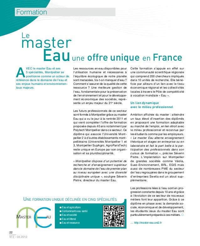 Formation        Le        master          Eau une offre unique en France    A           vec le master eau et ses         ...