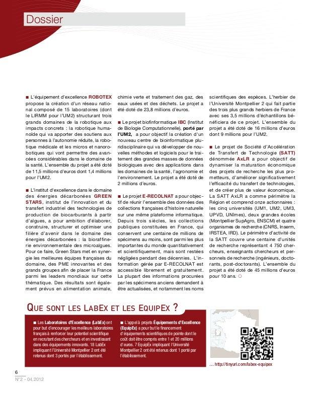 Dossier    L'équipement d'excellence ROBOTEX                      chimie verte et traitement des gaz, des           scie...