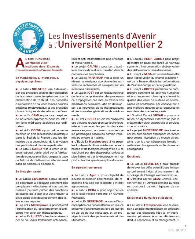 Les Investissements d'Avenir                          à l'Université Montpellier 2A       u total l'Université            ...