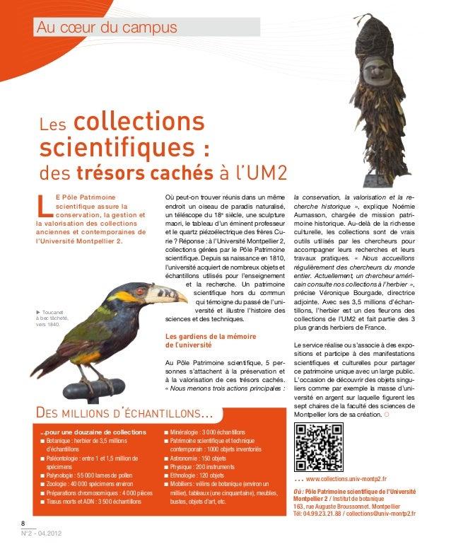 Au cœur du campus     Lescollections     scientifiques :     des trésors cachés à l'UM2    L          e Pôle Patrimoine   ...