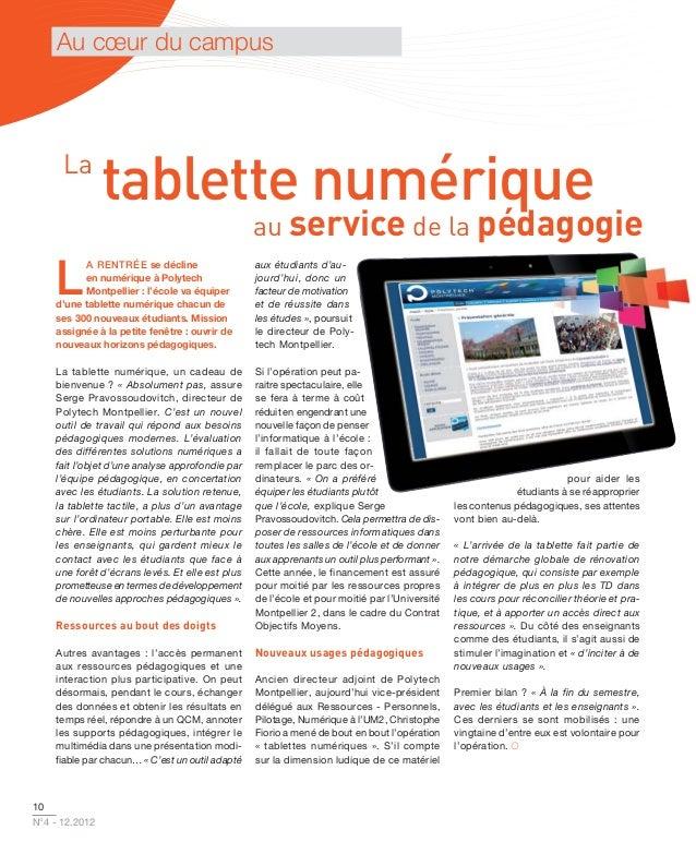 Au cœur du campus      La                tablette numérique                                                 au service de ...