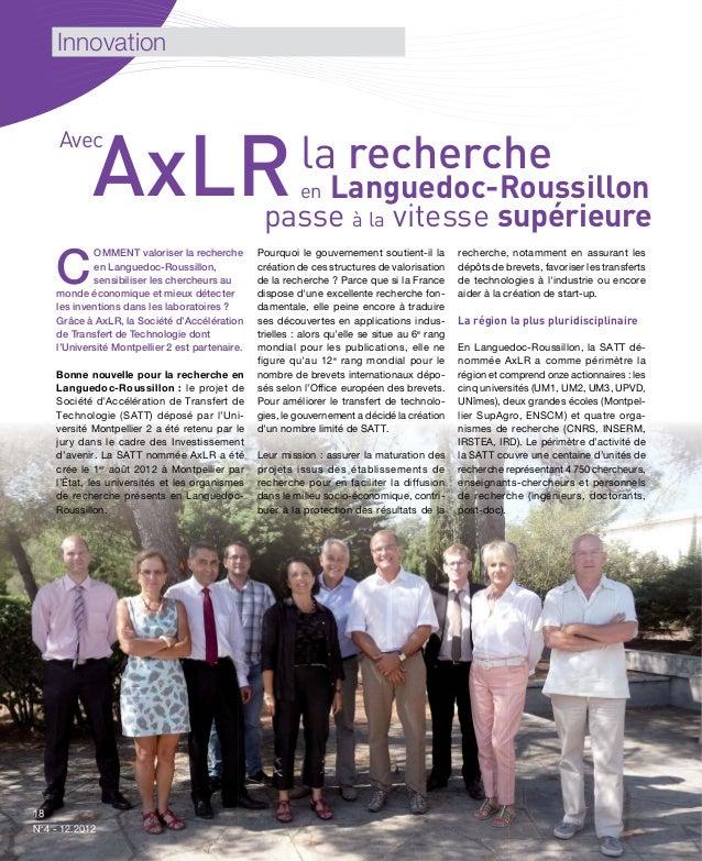 Innovation     Avec            AxLR                                           la recherche                                ...