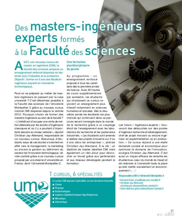 Des  masters-ingénieurs                    énieursexperts formésà la Faculté des sciences                   iences        ...