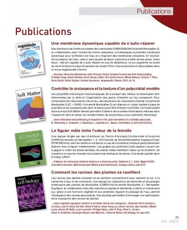 PublicationsPublications       Une membrane dynamique capable de sauto-réparer       Des chercheurs de lInstitut européen ...