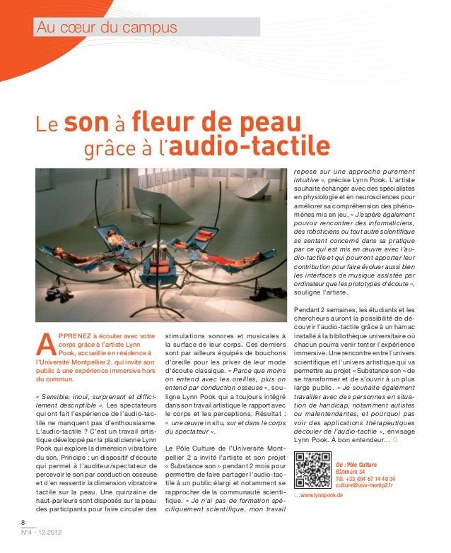 Au cœur du campus    Le son à fleur de peau        grâce à l'audio-tactile                                                 ...