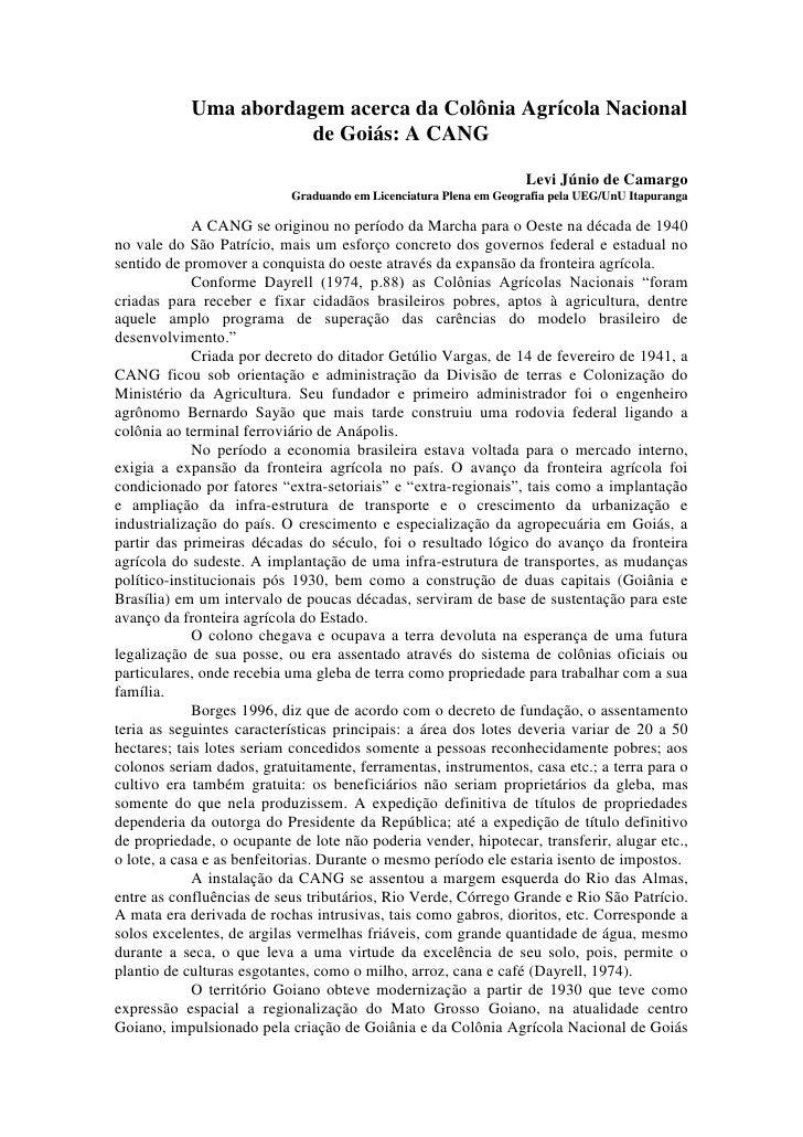 Uma abordagem acerca da Colônia Agrícola Nacional                       de Goiás: A CANG                                  ...