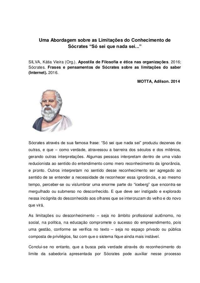 Uma Abordagem Sobre As Limitações Do Conhecimento De Sócrates Só Sei