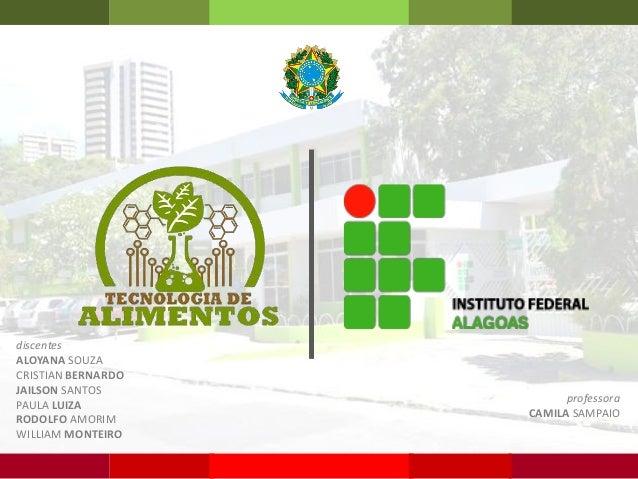 discentes ALOYANA SOUZA CRISTIAN BERNARDO JAILSON SANTOS PAULA LUIZA RODOLFO AMORIM WILLIAM MONTEIRO professora CAMILA SAM...