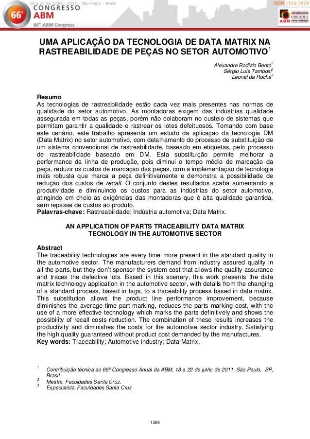 UMA APLICAÇÃO DA TECNOLOGIA DE DATA MATRIX NA    RASTREABILIDADE DE PEÇAS NO SETOR AUTOMOTIVO1                            ...