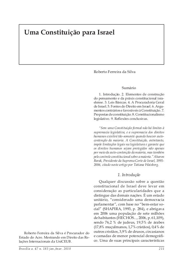 Brasília a. 47 n. 185 jan./mar. 2010 211 Sumário 1. Introdução. 2. Elementos de construção do pensamento e da práxis const...
