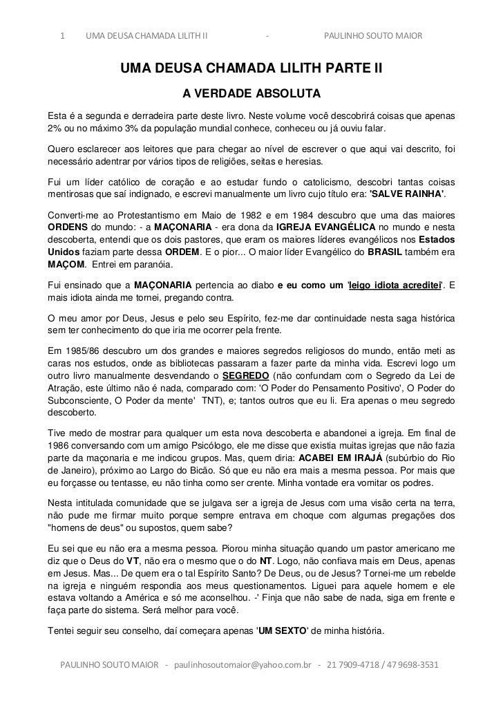 1     UMA DEUSA CHAMADA LILITH II               -             PAULINHO SOUTO MAIOR                UMA DEUSA CHAMADA LILITH...