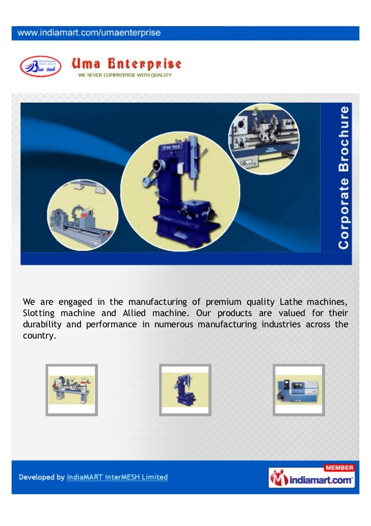 We are engaged in the manufacturing of premium quality Lathe machines,Slotting machine and Allied machine. Our products ar...