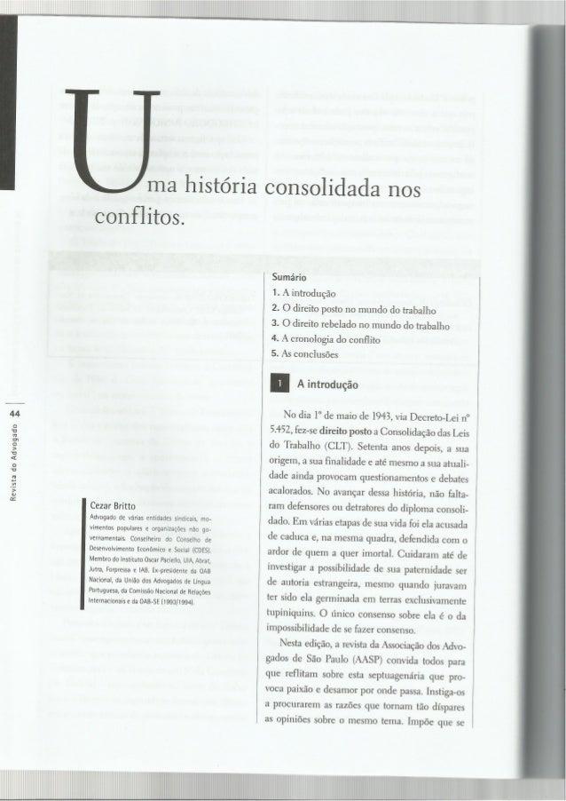 Uma historia consolidada nos conflitos - Cesar Britto