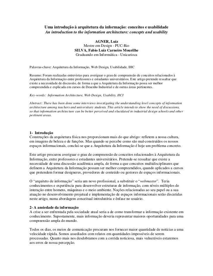 Uma introdução à arquitetura da informação: conceitos e usabilidade          An introduction to the information architectu...