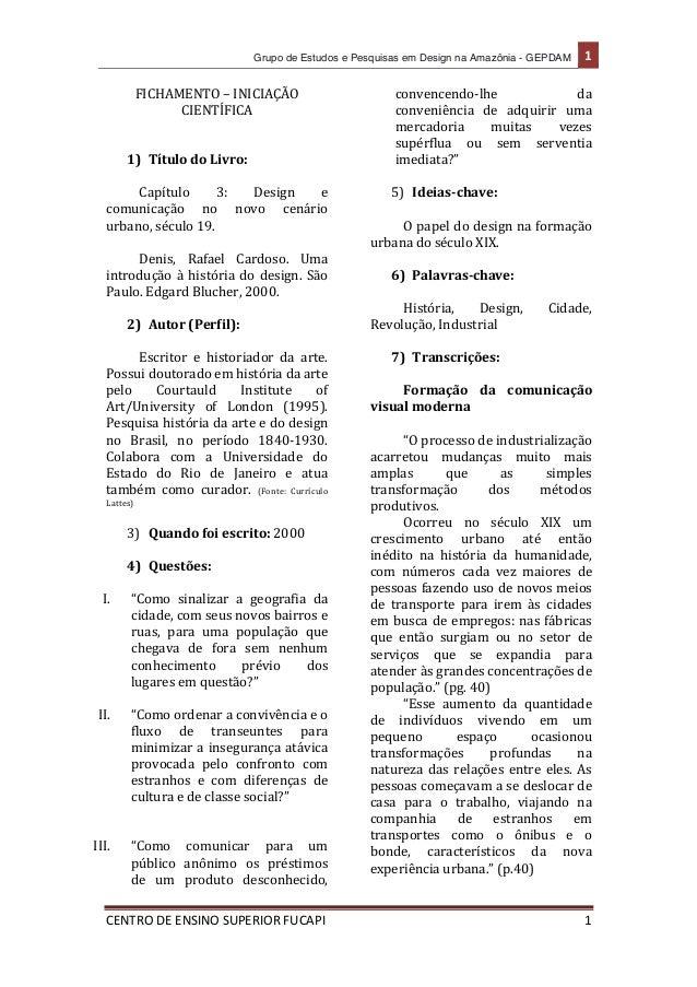 Grupo de Estudos e Pesquisas em Design na Amazônia - GEPDAM   1      CENTRO  DE  ENSINO  SUPERIOR  FUCAPI  ...