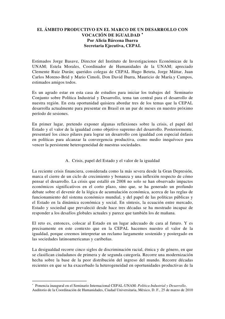 EL ÁMBITO PRODUCTIVO EN EL MARCO DE UN DESARROLLO CON                    VOCACIÓN DE IGUALDAD ∗                      Por A...
