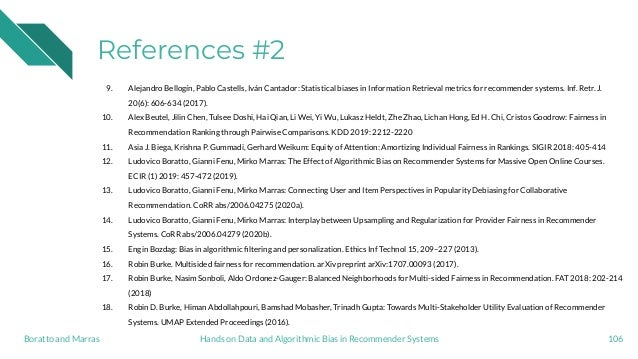 References #2 9. Alejandro Bellogín, Pablo Castells, Iván Cantador: Statistical biases in Information Retrieval metrics fo...