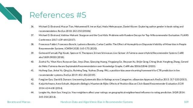 References #5 36. Michael D. Ekstrand, Mucun Tian, Mohammed R. Imran Kazi, Hoda Mehrpouyan, Daniel Kluver: Exploring autho...