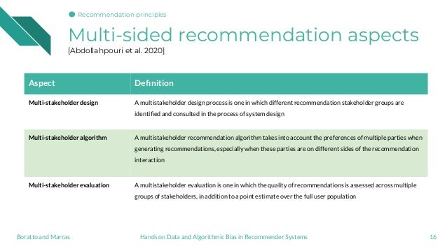 Multi-sided recommendation aspects [Abdollahpouri et al. 2020] 16 Aspect Definition Multi-stakeholder design A multistakeho...