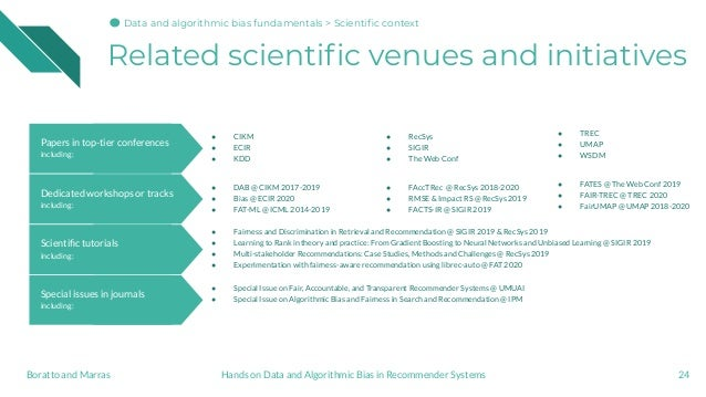 Related scientific venues and initiatives 24Hands on Data and Algorithmic Bias in Recommender SystemsBoratto and Marras Spe...