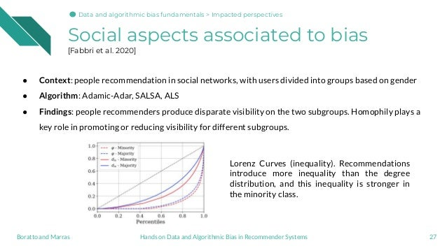 Social aspects associated to bias [Fabbri et al. 2020] 27Hands on Data and Algorithmic Bias in Recommender SystemsBoratto ...