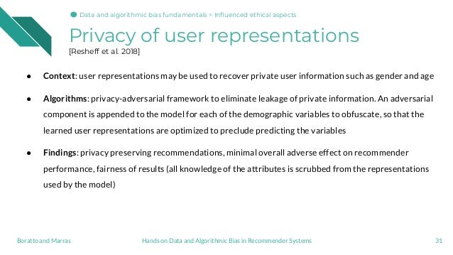 Privacy of user representations [Resheff et al. 2018] 31Hands on Data and Algorithmic Bias in Recommender SystemsBoratto a...