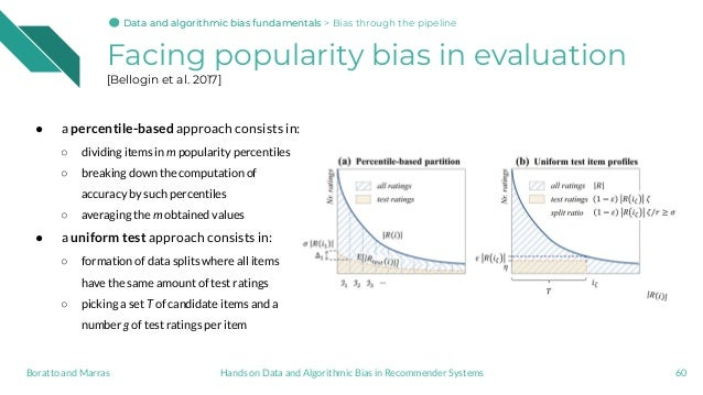 Facing popularity bias in evaluation [Bellogin et al. 2017] 60Hands on Data and Algorithmic Bias in Recommender SystemsBor...
