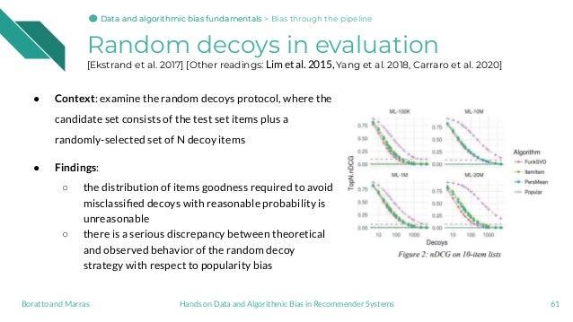 Random decoys in evaluation [Ekstrand et al. 2017] [Other readings: Lim et al. 2015, Yang et al. 2018, Carraro et al. 2020...