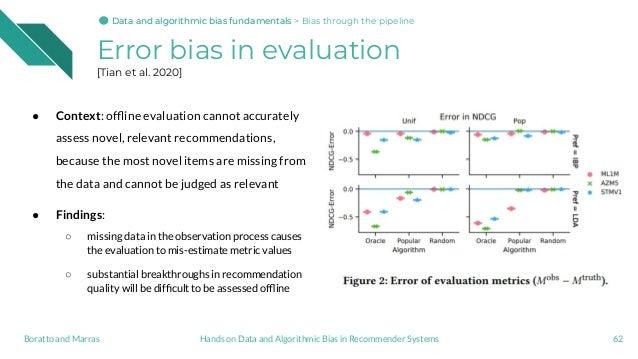 Error bias in evaluation [Tian et al. 2020] ● Context: offline evaluation cannot accurately assess novel, relevant recommen...