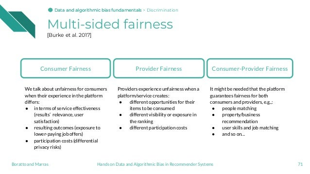 Multi-sided fairness [Burke et al. 2017] 71Hands on Data and Algorithmic Bias in Recommender SystemsBoratto and Marras Con...