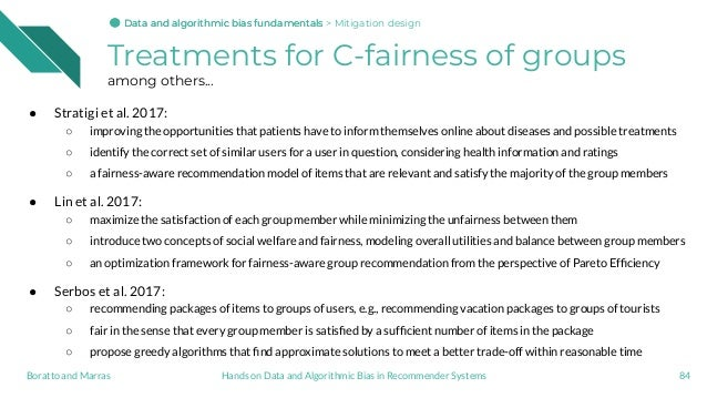 Treatments for C-fairness of groups among others... ● Stratigi et al. 2017: ○ improving the opportunities that patients ha...